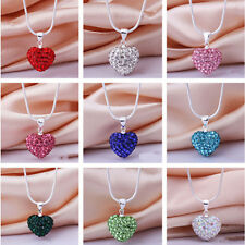 Fashion Crystal Heart 925 Sterling Silver Snake Chain Pendant Necklace Jewelry