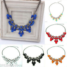 Stylish Women Crystal Flower Pendant Choker Bib Statement Necklace Collar Chain
