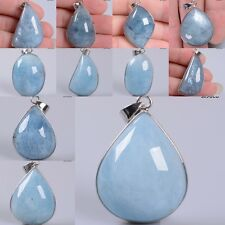 Natural Aquamarine teardrop oval shaped pendant focal bead *Each one pictured*