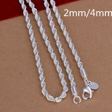 Fashion 2MM 4MM 925 Sterling Silver Men Rope Chain Necklace 16-24inch