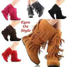 Womens Suede Fringe Tassel Moccasin Faux Suede Fashion Ladies Boots Shoes