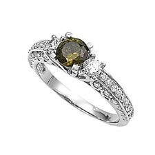 Sterling Silver Ring with Round Cut Olive Green & Clear CZ Side Stones