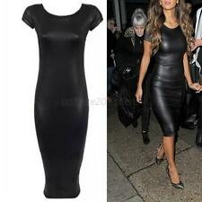 Womens Sexy Wet Look Faux Leather Look Cap Sleeve Bodycon Midi Party Dress Black