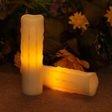 DFL 2pcs Melted Edge Dripping light Flameless Votive Led Candle with Timer Wax