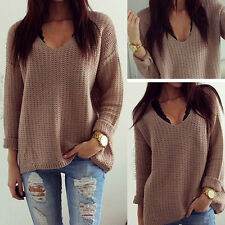 Ladies Womens Long Sleeve Oversized Baggy Knitted Jumper Chunky Sweater Cardigan
