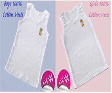 3 Packs Girls And Boys 100% SOFT COTTON VESTS 2 3 4 5 6 7 8 9 10 11 12 13 YRS