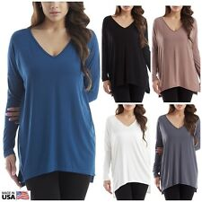Womens Long Sleeve V Neck Top BAMBOO Piko Style Tunic Oversize Shirt USA S M L