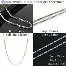925 Sterling Silver Plated Chains Box Curb Rope Bead Link Chain Necklace