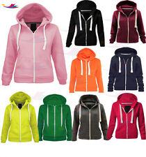 Kids Boys & Girls Plain Zip up Hoodie Hooded Fleece Jumper Zipper lot size 3-13