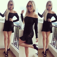 Sexy Women's Lace Long Sleeve Bandage Bodycon Evening Party Cocktail Mini Dress