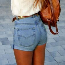 NEW Sexy Women's Blue Denim High Waisted Shorts Jeans Slim Hot Pants Trousers