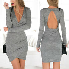 Women Sexy Long Sleeve Bodycon Backless Cross V Neck Evening Mini Dress