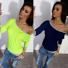 Neu Schrägschulter Sexy Damen T-Shirt Cotton Tops Shirt Bluse 3/4 Arm Gr.38-44