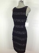 Calvin Klein NWT Stretch Ribbed Bodycon Dress with metallic lace stripes