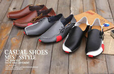 Mens Breathable Casual Loafer Shoes Leather Sneakers Slip On Driving Boat Shoes