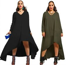 Hot Women long sleeves plus size Maxi Long Party Cocktail Chiffon Panelled Dress