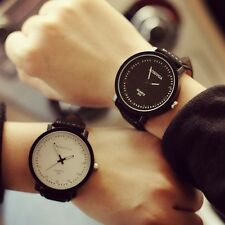 Fashion Men Women Watch Round Steel Case Faux Leather Quartz analog wrist Watch