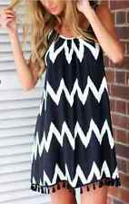 """Jeni""Black/White Chevron Tassel Trim Cover Up Beach Dress Sizes 8-14  Boutique"