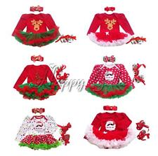 3PCS Baby Girls Red Christmas Romper Tutu Dress Xmas Party Outfits Clothes 0-12M