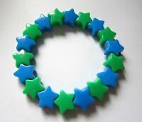 Kitsch Neon Blue and Green Plastic Star Bead Elastic Bracelet Retro Emo Goth