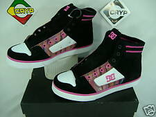 "New Womens 5 DC "" Manteca Slim "" Hi Top Black Pink Shoes"