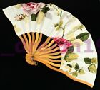 Japanese Chinese Bamboo Folding Silk Flowers HAND FAN Wedding Party Gift