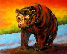 ORIGINAL WESTERN BEAR OIL PAINTING BY SHIRLEY
