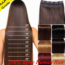 Best Quality One Piece Remy Human Hair Extensions Clip In 3/4 Full Head US Q793