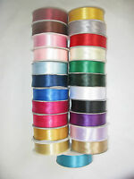 50m reel or Sample double sided satin ribbon 3mm 10mm 16mm 25mm lots of colours