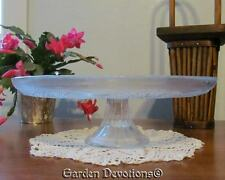 """LOVELY! 13"""" ORNATE GLASS CAKE PLATE STAND Clear Fluted Pedestal ~ New in Box!"""