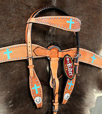 Show Tack Bridle Western Leather Headstall BreastCollar Turquoise 8097
