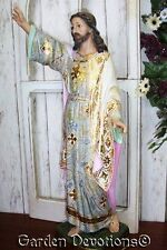 """Incredible! Pink Tones 23"""" RISEN JESUS CHRIST STATUE Spanish Style ~ GILDED GOLD"""