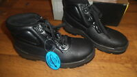 Mens steel toe cap black leather safety boots, Size 6, NEW Globe Trotters