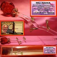 NANA VERSE GLASS ROSE   MOTHERS DAY LOVE GIFT ANNIVERSARY KEEPSAKE BIRTHDAY