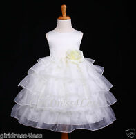 IVORY WEDDING PAGEANT TIERED ORGANZA FLOWER GIRL DRESS 12M 18M 2/2T 4/4T 6 8 10