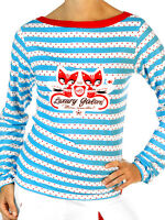 PUSSY DELUXE SHIRT 8 10 Rockabilly Top Pin Up Top 8 10 Stripe Long Sleeve Sailor