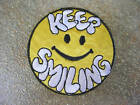 Smiley Keep Smile Iron On Patch Woven Sew (136) Badge