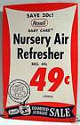 1950 Rexall Drug Store Nursery Air Fresh Sign Old Stock