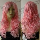 24 in. Long 60cm Pink Curly Synthetic Cosplay Wig Free shipping C583