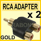 Qty 2 - MALE PHONO RCA TO Y ADAPTER SPLITTER AUDIO VIDEO AV GOLD QUALITY - A13