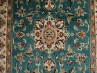 FLORAL IVORY TOUCH HANDKNOTTED RUG WOOL SILK CARPET 5x3