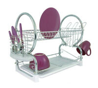 Amazing New Style Dish Drainer & Cutlery Rack Modern 2 Tier Chrome