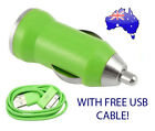 Green Car Charger for Apple iPhone 4G 4 3GS 3 iPod Nano Touch - FREE USB Cable