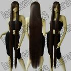 60in. Ex-Long 150cm Heat Resistant Dark Brown Straight Cosplay Wig Free shipping