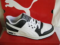 MENS PUMA BLACK AND WHITE LEATHER  LACE UP SKATE STYLE TRAINERS UNLIMITED LO L