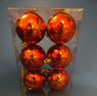 SET OF 6 RED 60mm BAUBLES WITH GOLD GLITTER MERRY CHRISTMAS AND SNOWFLAKES