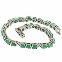 925 Sterling Silver 12.10 Ct Natural Green Emeralds Tennis Bracelet 7.48 in L