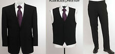 """BNWT Skopes wool blend 3 piece suit in plain Black, chest 54"""" to 58"""""""