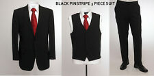 """BNWT Skopes wool blend 3 piece suit in Black pinstripe, chest 48"""" to 52"""""""