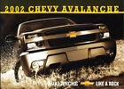 2002 Chevrolet Avalanche Intro Truck Original Sales Brochure - Canada